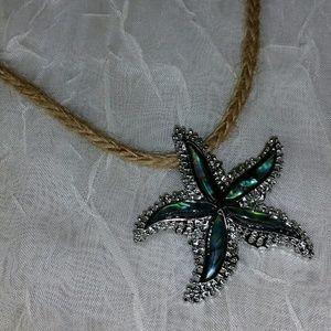 Necklace Abalone Starfish Pendant Silver macrame